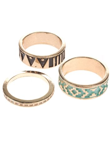 Stone and Locket Gold Tribal Multi Pack Rings