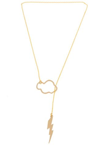 mint Cloud & Lightning Necklace