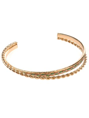 Stone and Locket Gold/Mulsti Thread Braided Cuff
