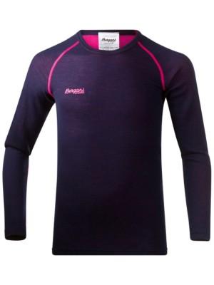 Bergans Akeleie Tech Tee LS Boys navy / hot pink Gr. 140