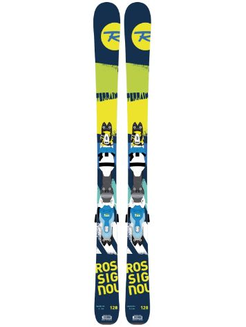 Rossignol Terrain Boys 128 + Xpress JR 7 Blue/Yellow 2017 Youth Freeski-Set