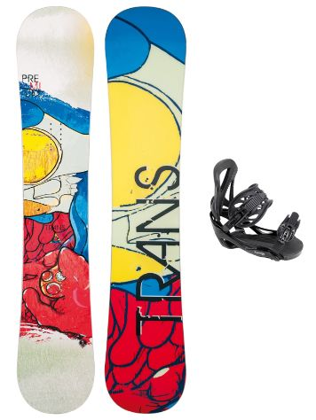 TRANS Premium White 162W + Team SMO L Black 2017 Snowboard Set
