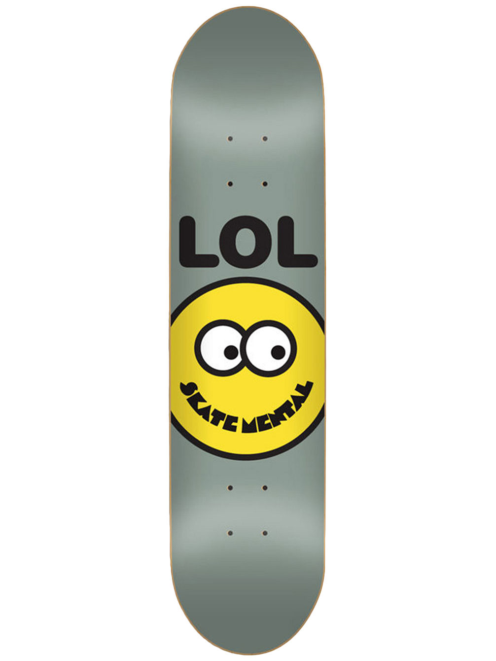 "Lol Smiley Face Grey 8.25"" Skateboard De"
