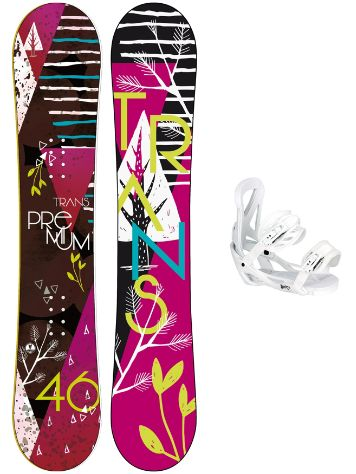 TRANS Premium 144 + Team Girl M Wht 2018 Snowboard Set
