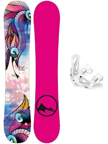 TRANS FR Wood 152 + Team Girl M Wht 2018 Snowboard Set